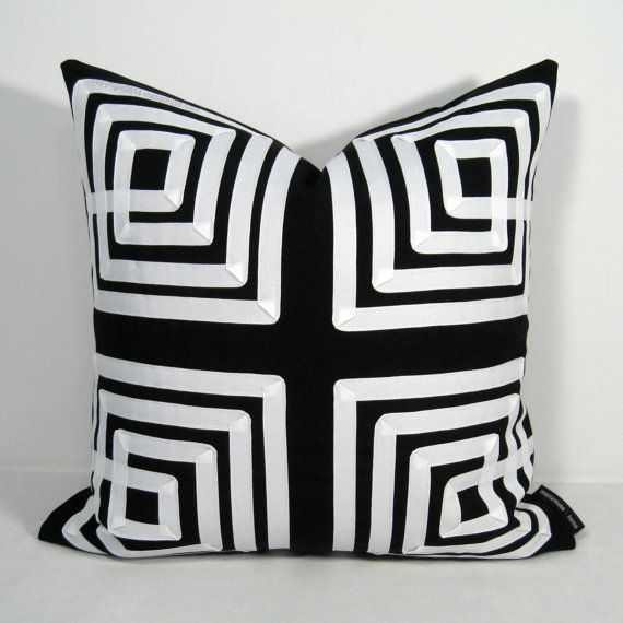 Black White Indoor Outdoor Pillow Cover With Modern Greek Key Geometric Applique Crafted I Modern Outdoor Pillows White Pillow Covers Outdoor Pillow Covers