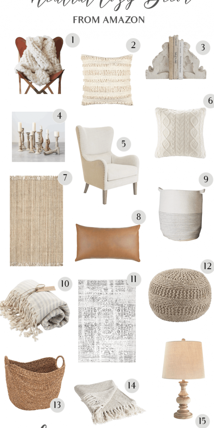 The best cozy neutral home decor from Amazon   cozydecor  neutraldecor  farmhouse  homedecor  farmhousestyle #