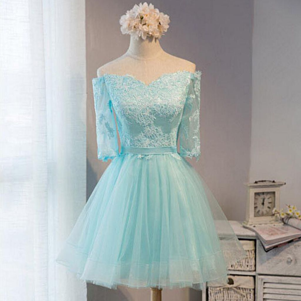 Off shoulder homecoming dresses, Lace homecoming dress, Tiffany blue ...