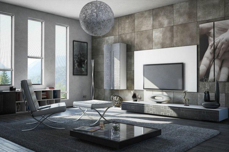 Beautiful Interieur Im Wohnzimmer   Betonwand Im Schachbrettmuster Und Lowboard Mit  Retro Muster