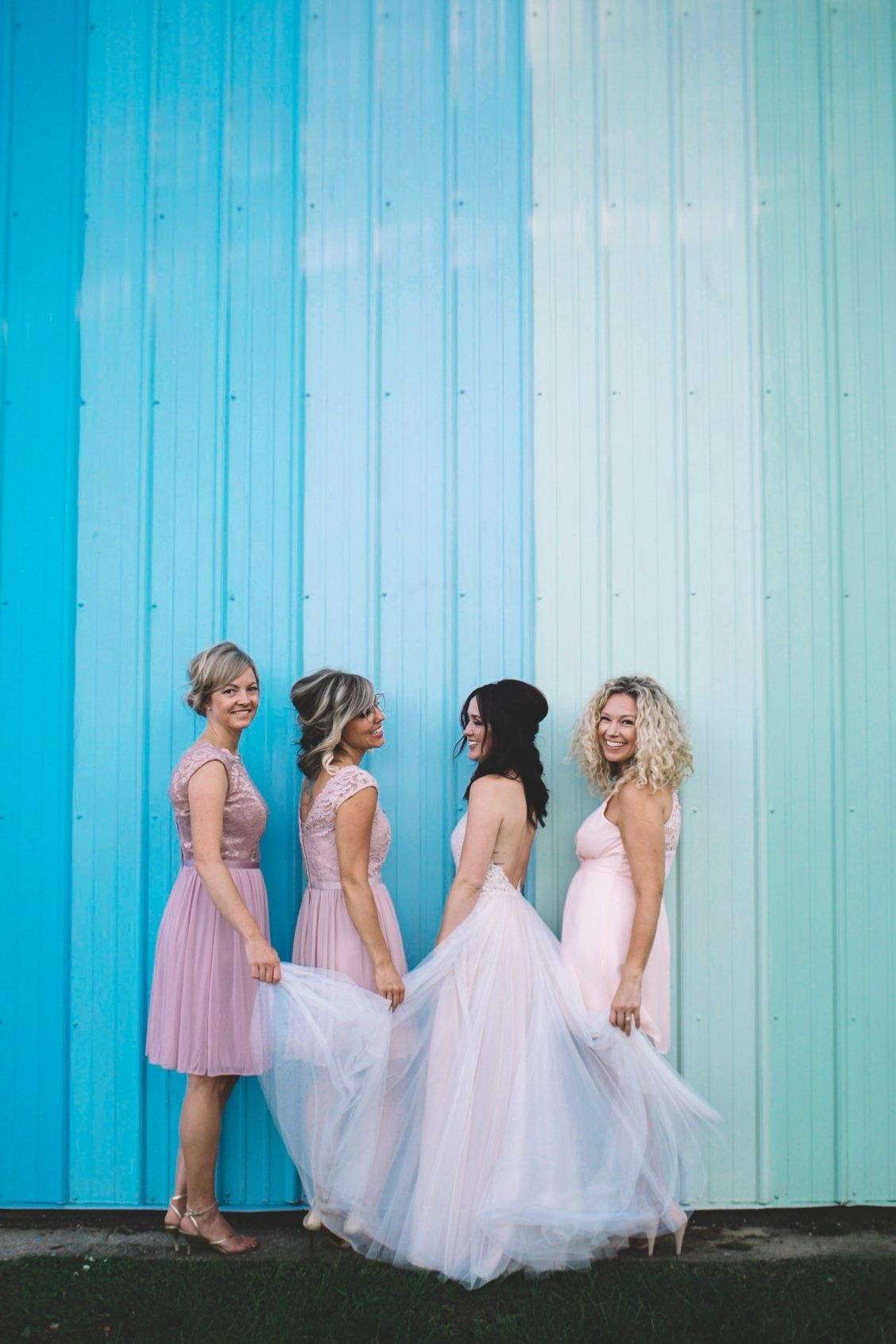 A mix of short petal pink and rose gold short bridesmaid dresses by ...