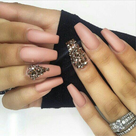 Nude coffin nails with studs | Nails | Pinterest | Coffin nails ...