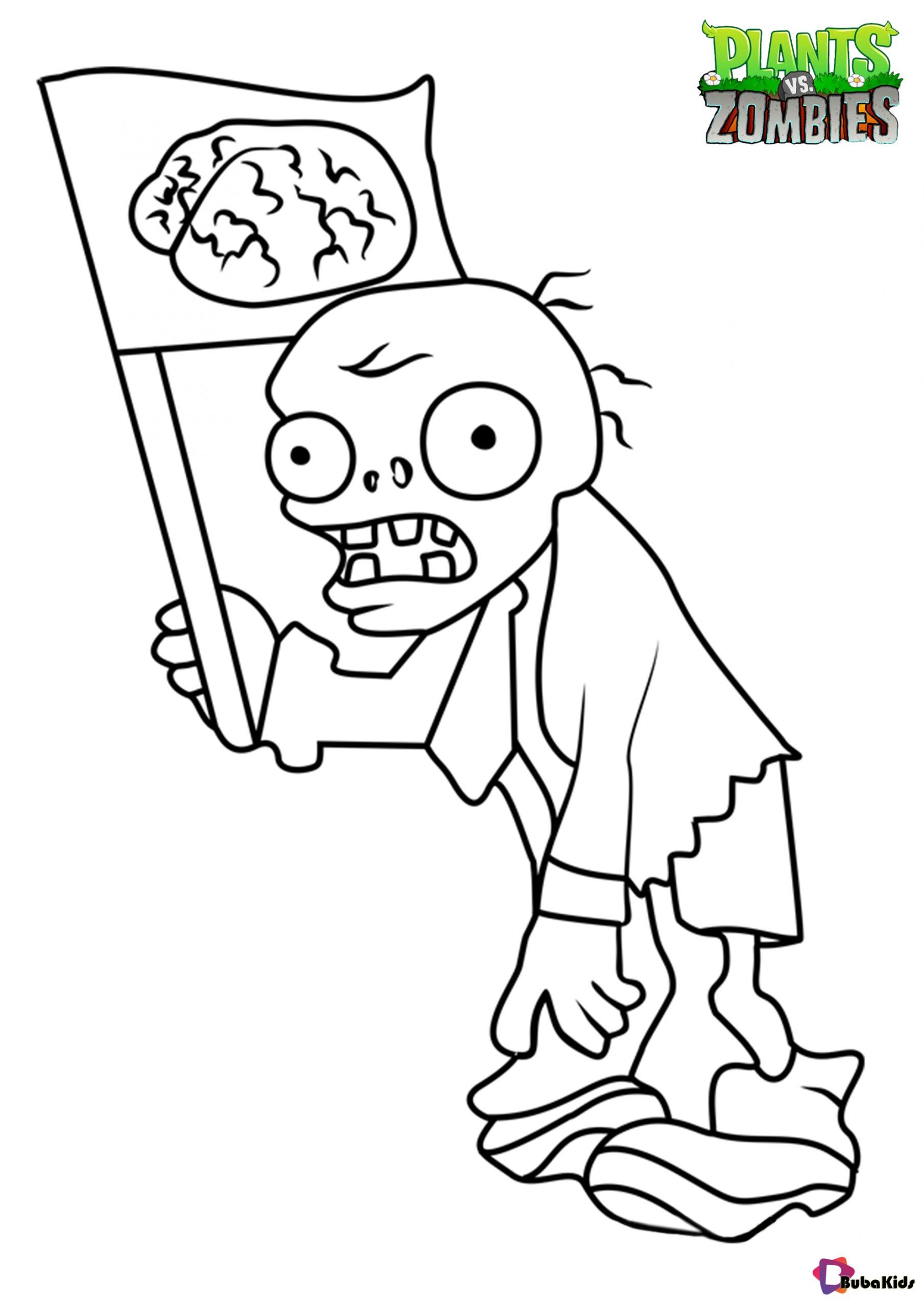 Plants Vs Zombies Flag Zombie Coloring Page Collection Of Cartoon Coloring Pages For Teenage Pr Coloring Pages Halloween Coloring Pages Cartoon Coloring Pages