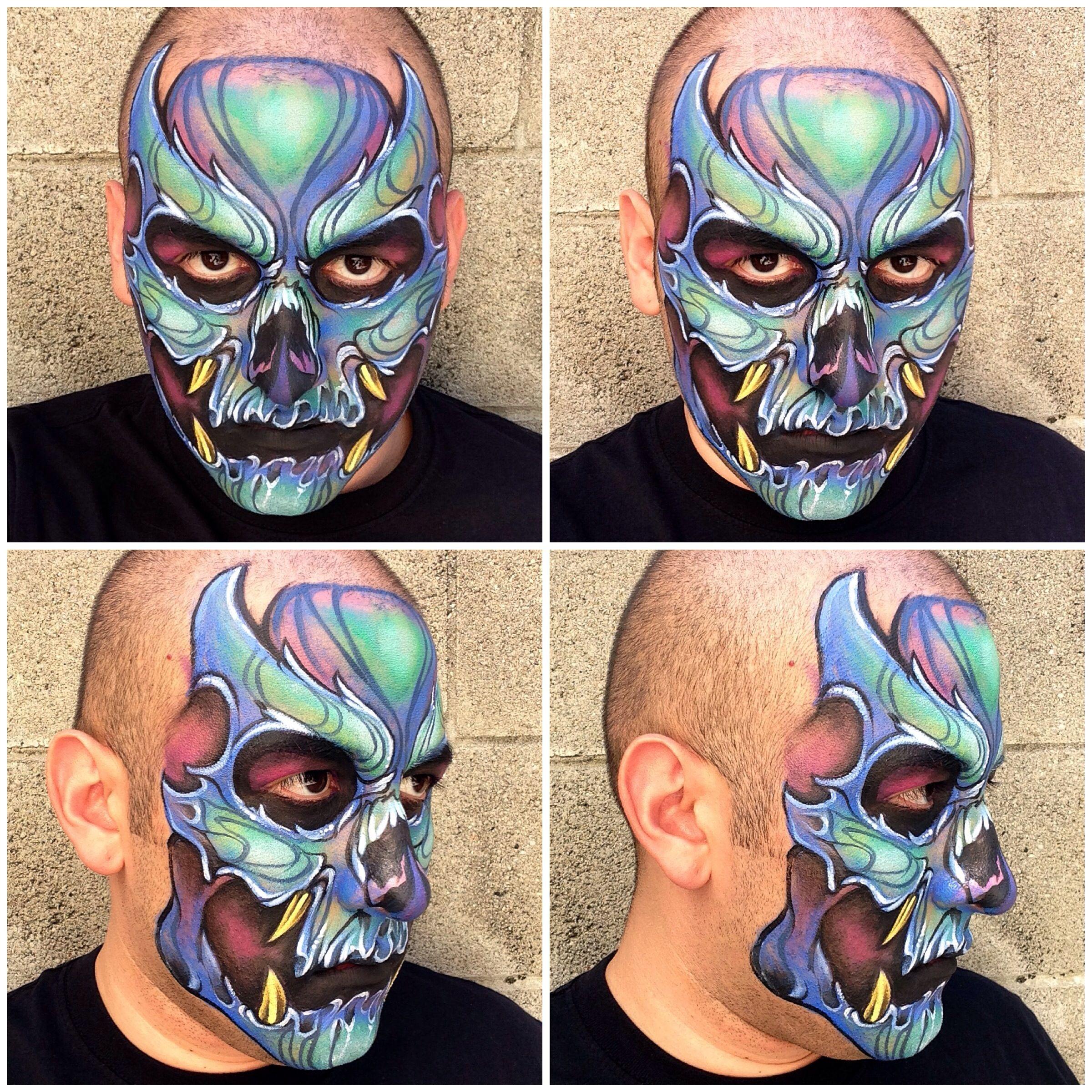 Blue skull face painting. Used Kryolan Aquacolor. :)