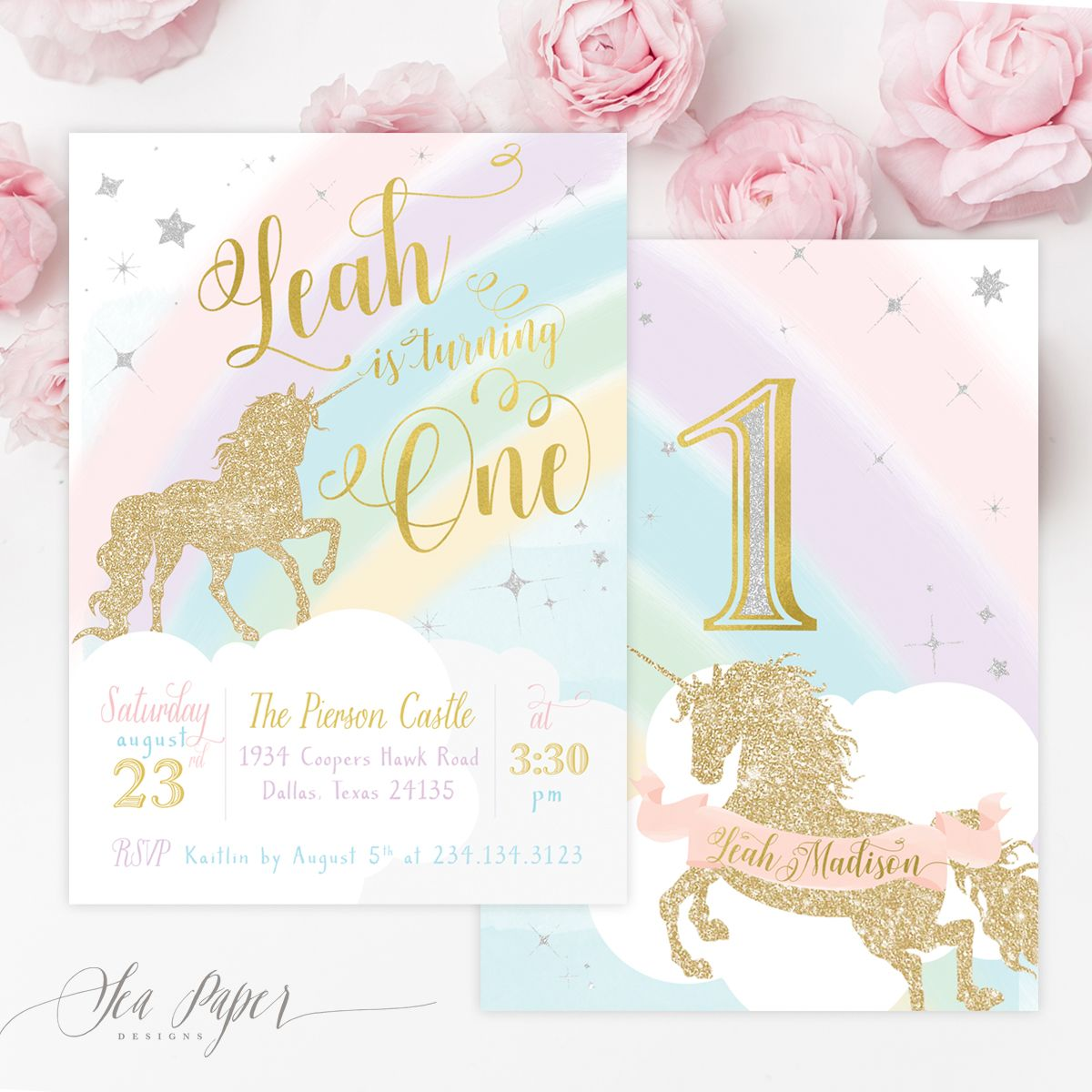 Leah Unicorn Girl S 1st First Birthday Party Invitation Birthday