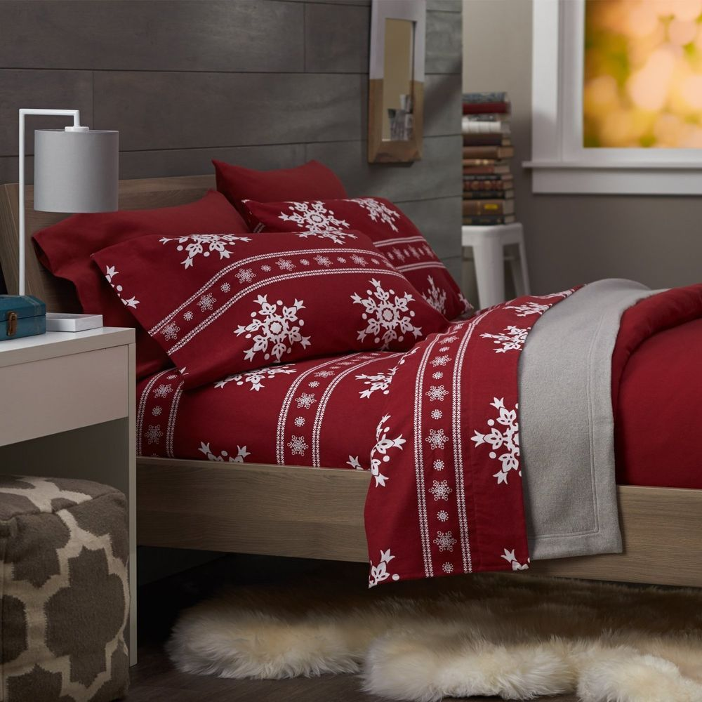 Snowflake King Size 100 Cotton Flannel Bedding Sheet Set 160 Tc Soft Bed White Christmas Flannel Sheets Christmas Bedding Christmas Bedding Set