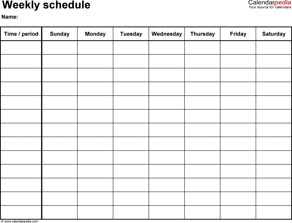 Weekly schedule template for Word version 14: landscape, 1 page ...