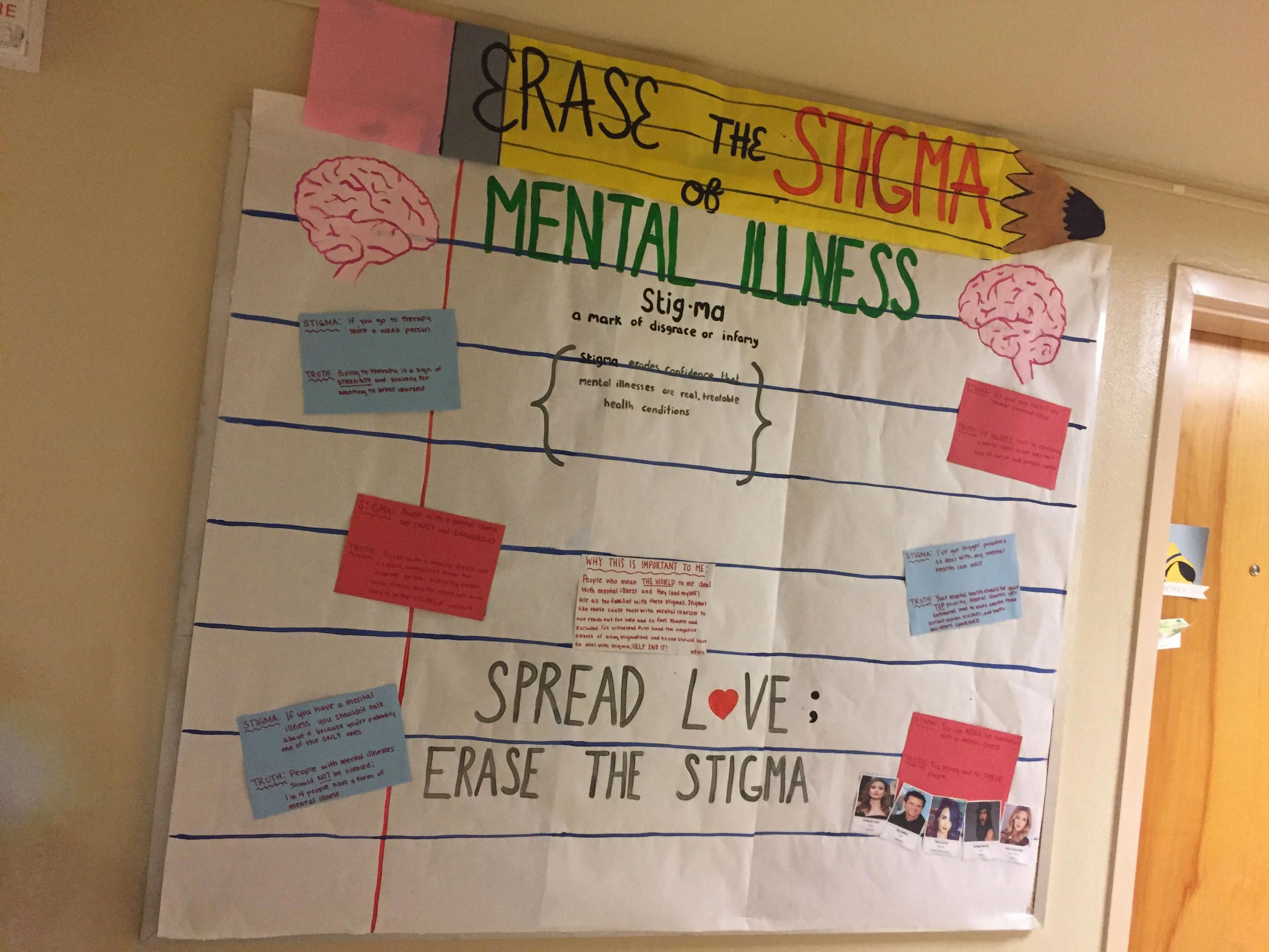 Erase the Stigma of Mental Health Bulletin Board. Mental Illness Mental Health Awareness. #RA #reslife #passives #bulletinboard #college #rabulletinboards