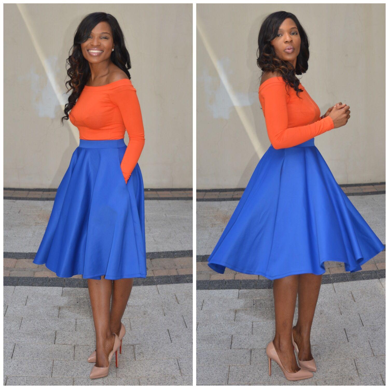 the flared royal blue skirt pinteres