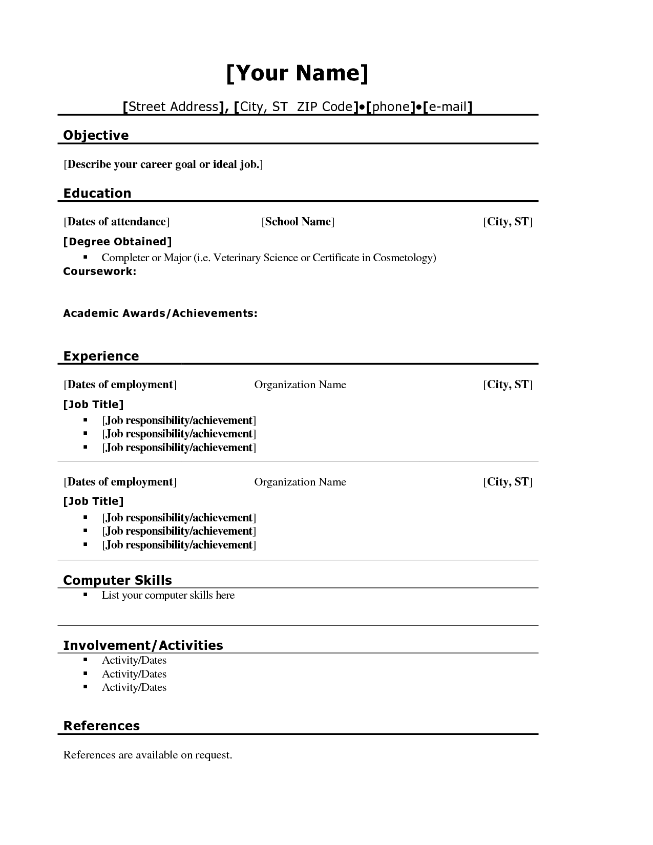 Student Resume Template Blank Resume Template For High School Students  Httpwww
