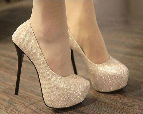 Glitter Women Lady Platforms Pumps Stiletto High Heels Bridal Wedding Shoes 50e7c0637dff
