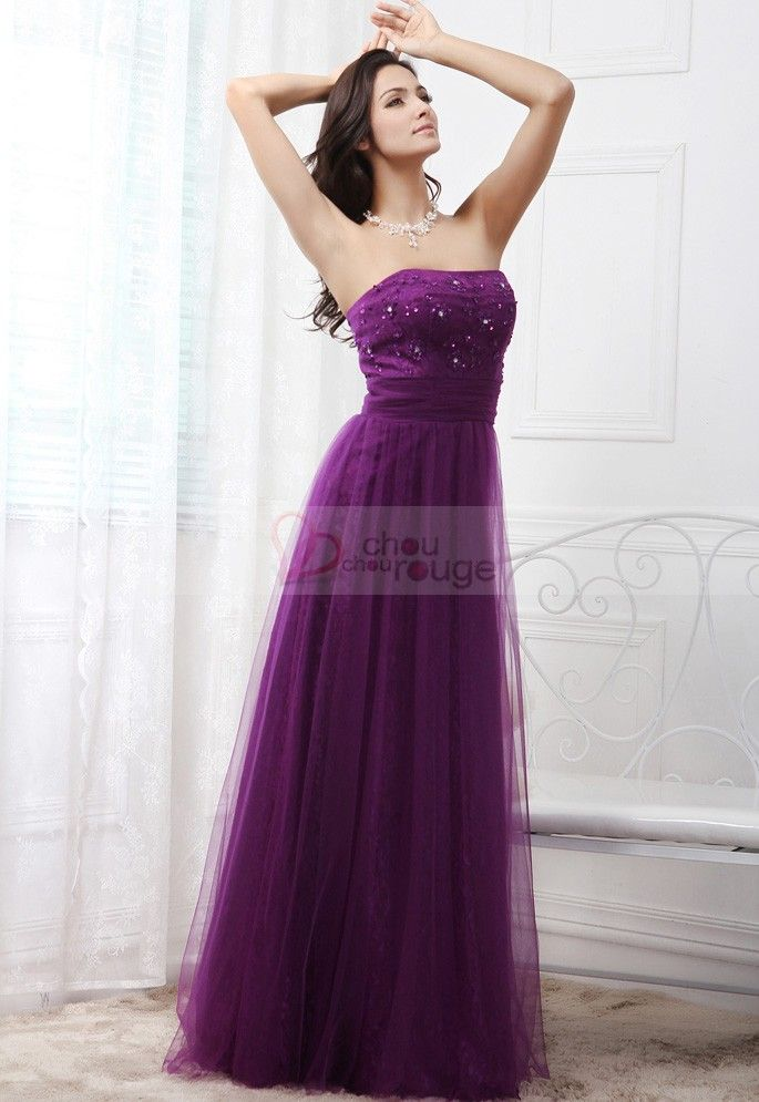 9c249eef3ee Robe de soirée longue bustier violette REF JLC1308 Robe Bustier Pas Cher