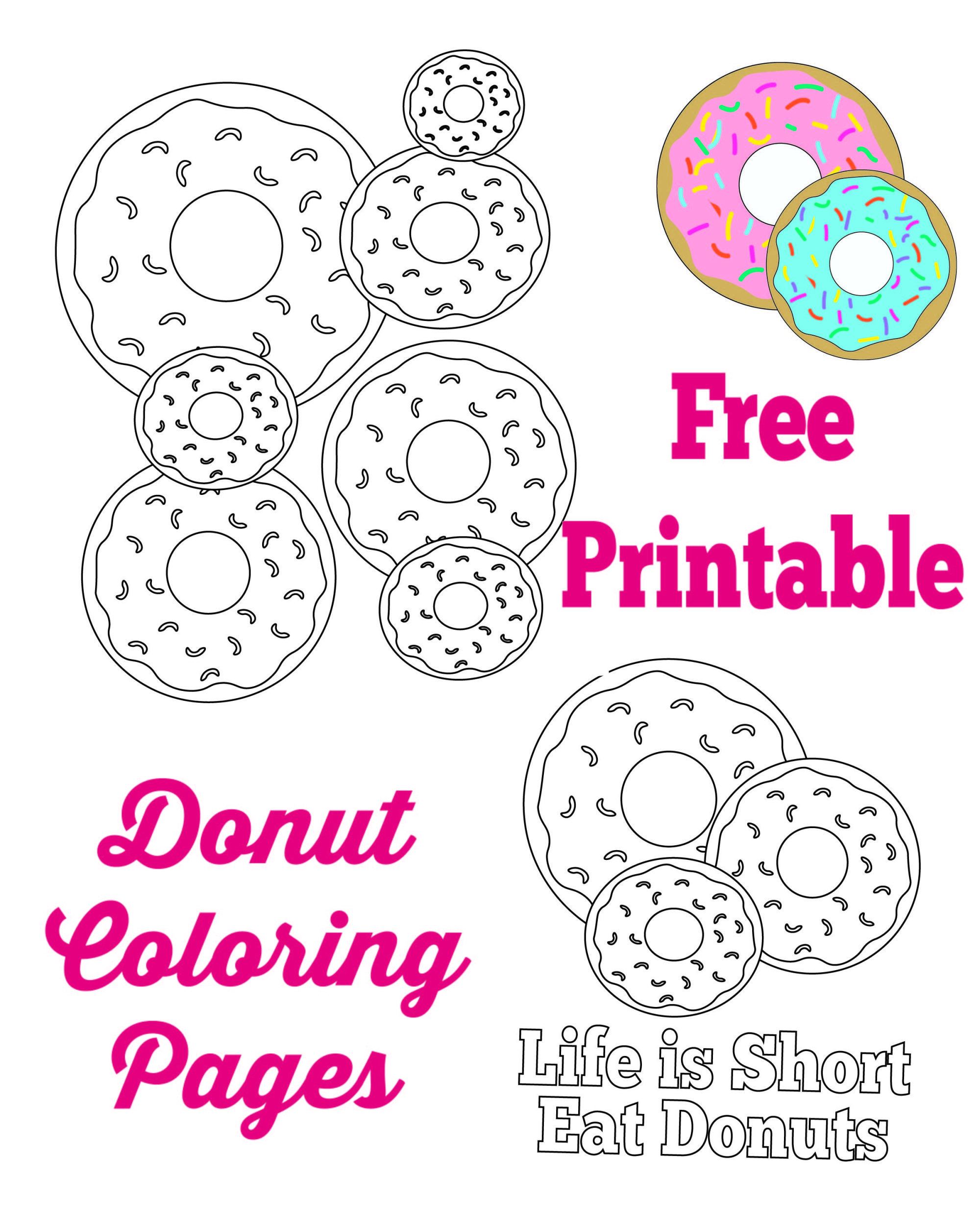 Donut Coloring Pages And Party Sign Donut Theme Party Donut Coloring Page Birthday Activities