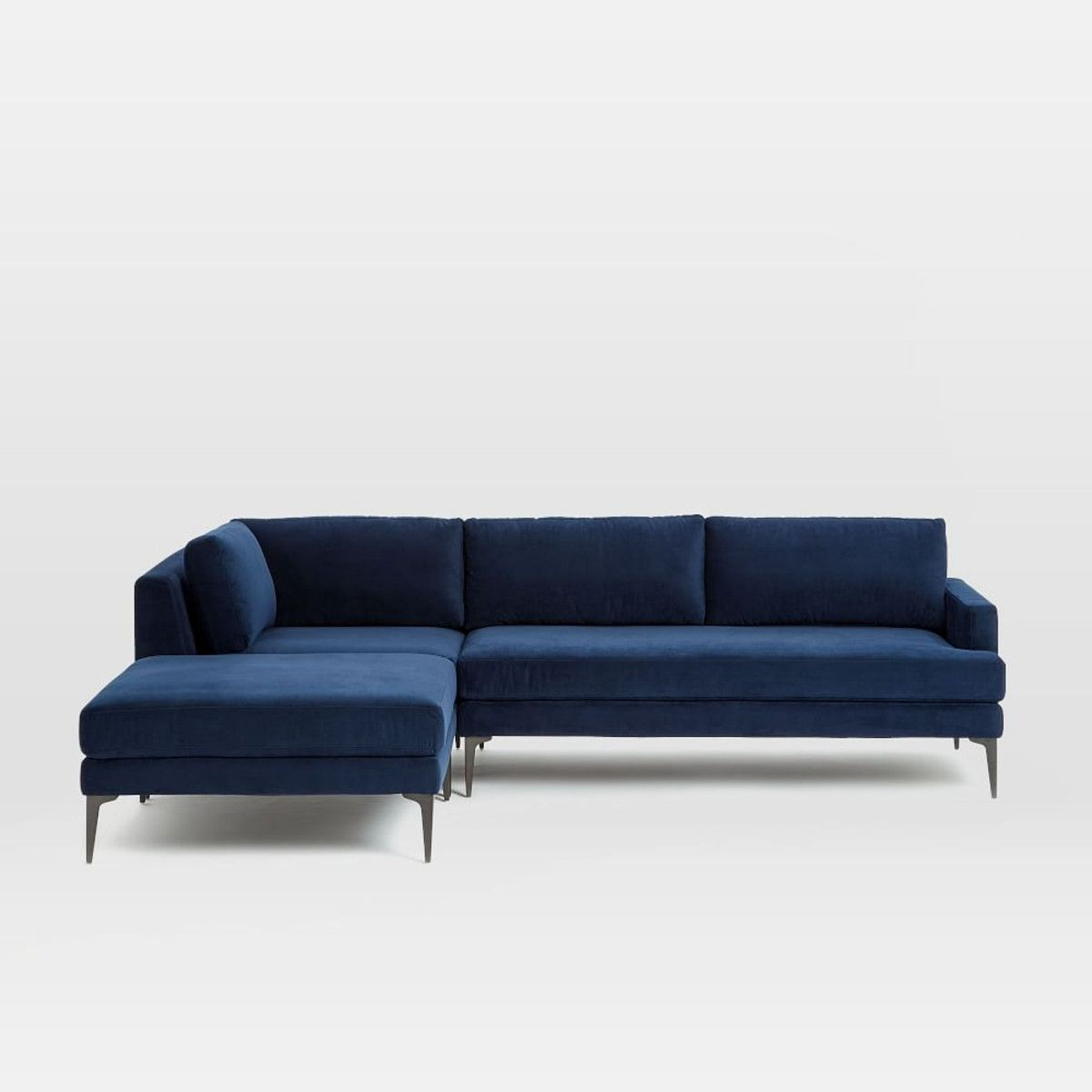 Andes 3-Piece Chaise Sectional - Ink Blue   Couches   Pinterest
