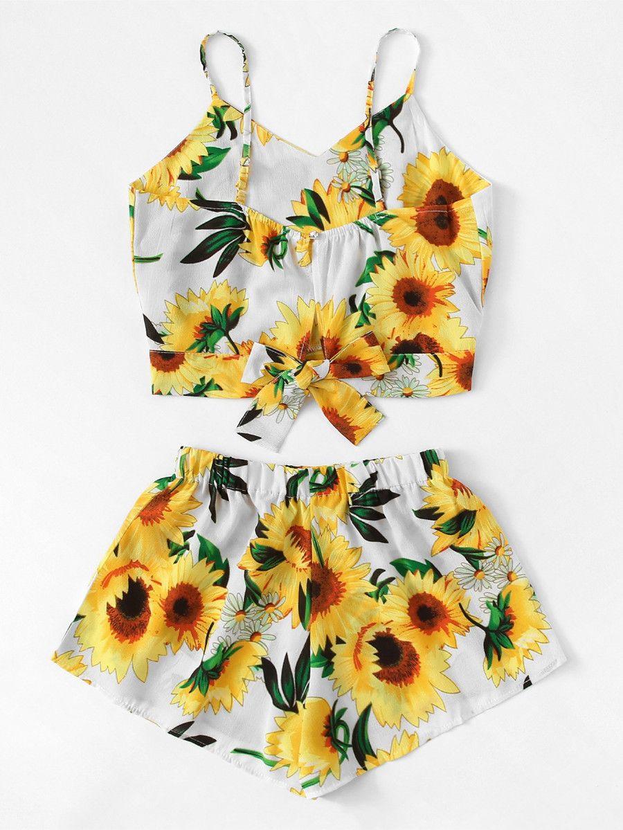 Sunflower Print Cami Top With Wide Leg Shorts Shein Sheinside