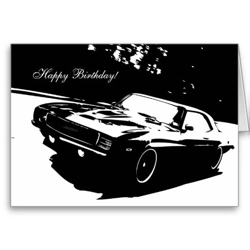 1969 Camaro SS Rolling Shot Car Themed Birthday Card – Birthday Cards with Cars