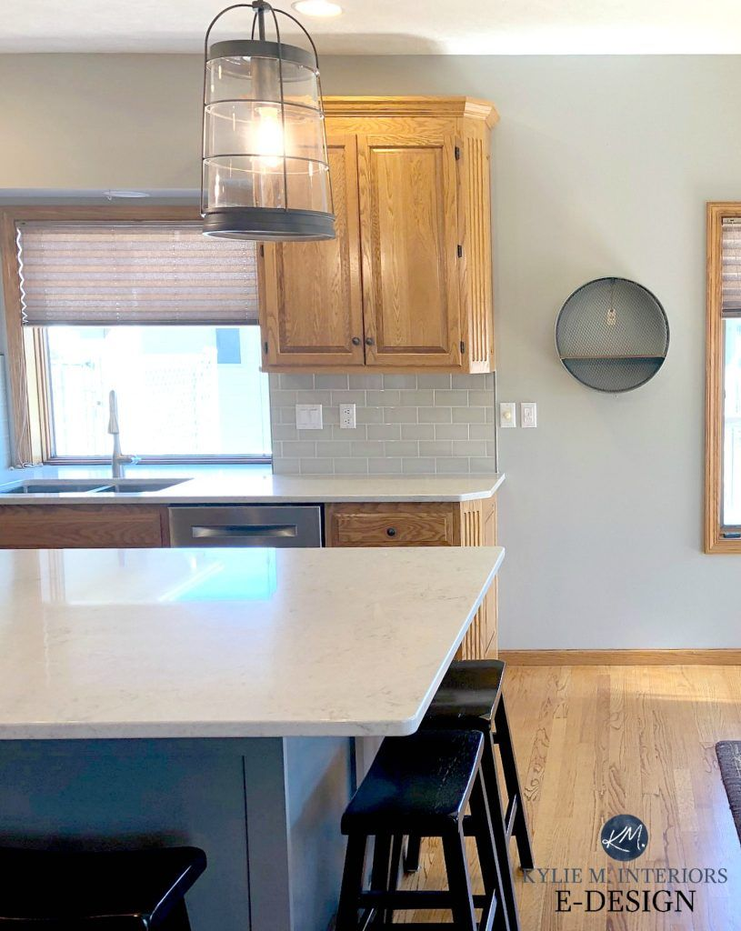 The 16 Best Paint Colours To Go With Oak Or Wood Trim Floor Cabinets And More Kitchen Cabinets And Flooring Oak Cabinets Grey Kitchen Walls