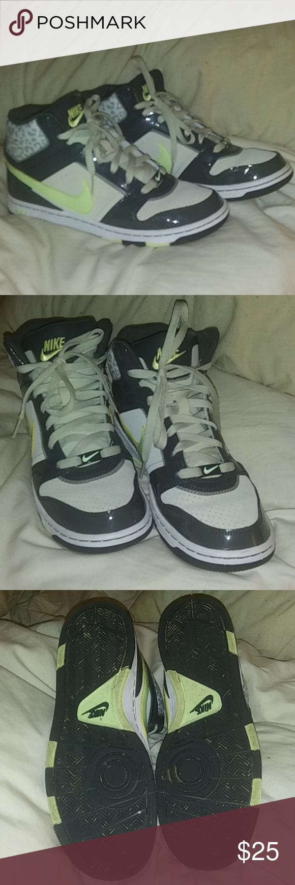 90f5be11974c6 NIKE AIR PRESTIGE 3 Skinny High Tops Grey vinyl with pink leopard print and  yellow swoosh. Excellent condition