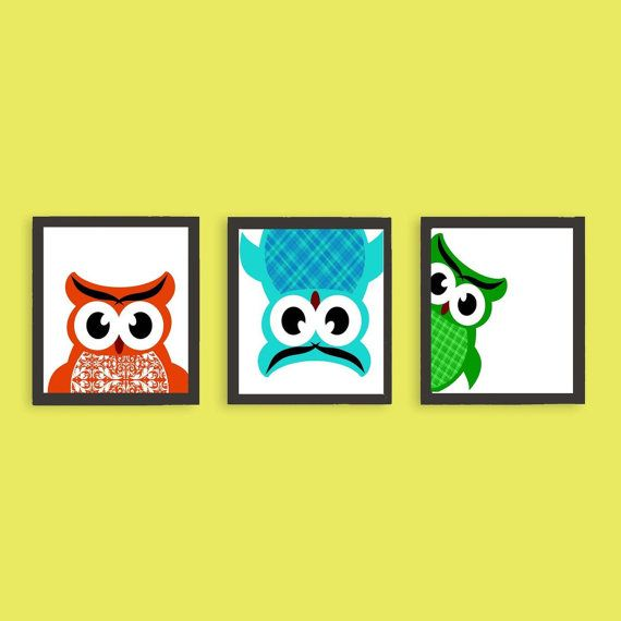 Owls playing hide and seek nursery decor naughty three by ialbert ...