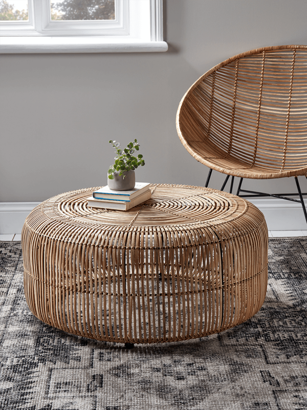 Flat Rattan Side Table Natural Furniture Luxury Home
