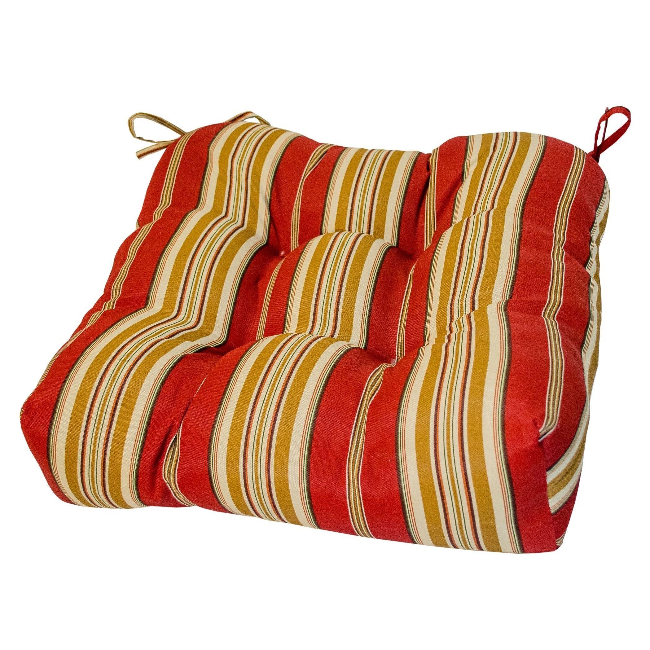 20 inch Outdoor Roma Stripe Chair Cushion PalazzoStripe Multi