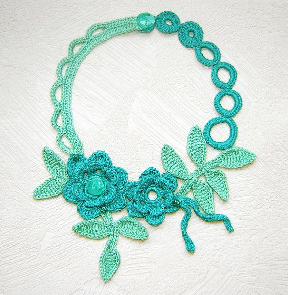 Shadow Mint Flowers Crochet Necklace By Agatsknitting On Etsy