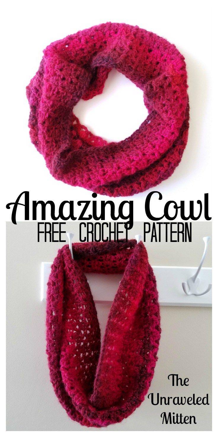 Crochet Cowl Free Pattern | Blusas lindas, Puntadas y Ganchillo