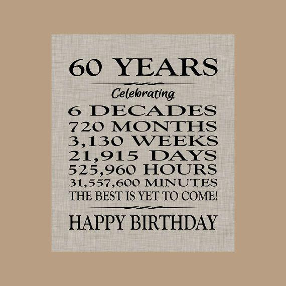 60 Birthday Sign Sixty Birthday Gift Sixty Birthday