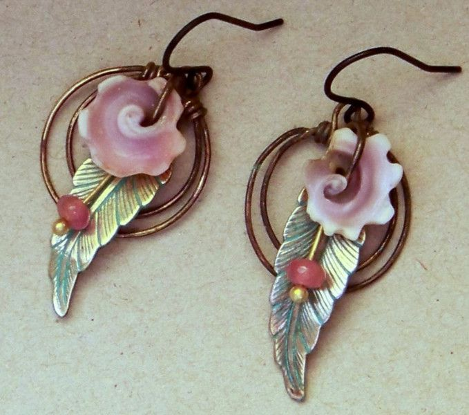 Ohrhänger - Ohrringe, Muschelblüte, Rubin * 831 - ein Designerstück von…