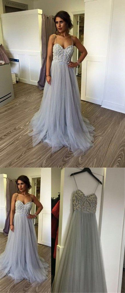 Elegant Spaghetti Straps Long Prom Dress,Beautiful Prom Dresses ...