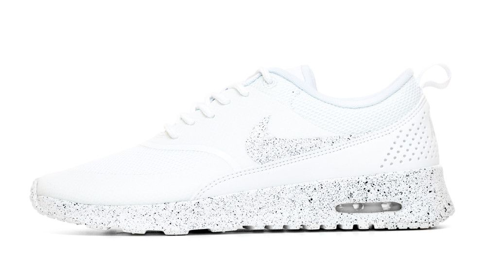 Nike Air Max Thea Running Shoes By Glitter Kicks - White White Black Paint  Speckle d7974731ca67