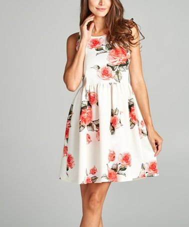 Another great find on #zulily! Off-White & Red Floral Fit & Flare Dress #zulilyfinds