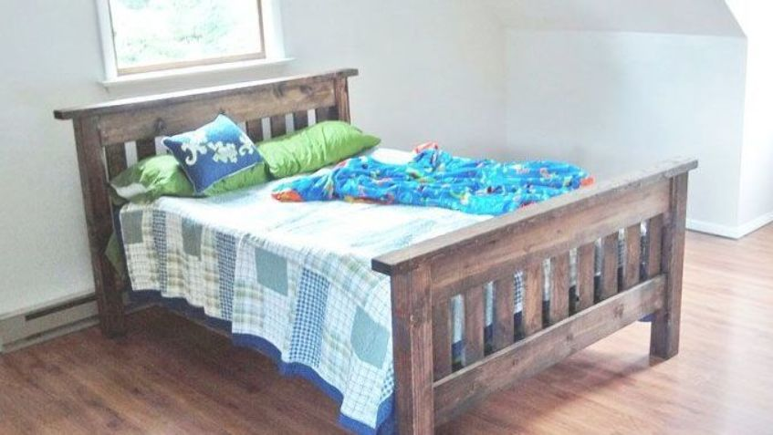 Full Size Bed In Mission Style Plans By Ana White Simple Bed