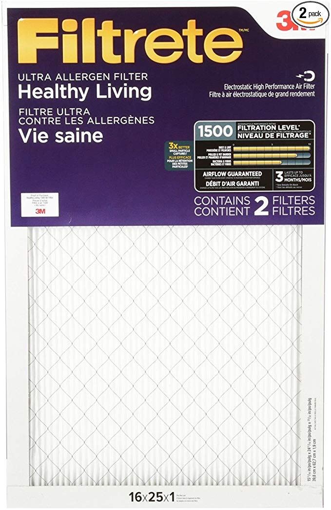 Filtrete MPR 1500 16x25x1 AC Furnace Air Filter, Healthy