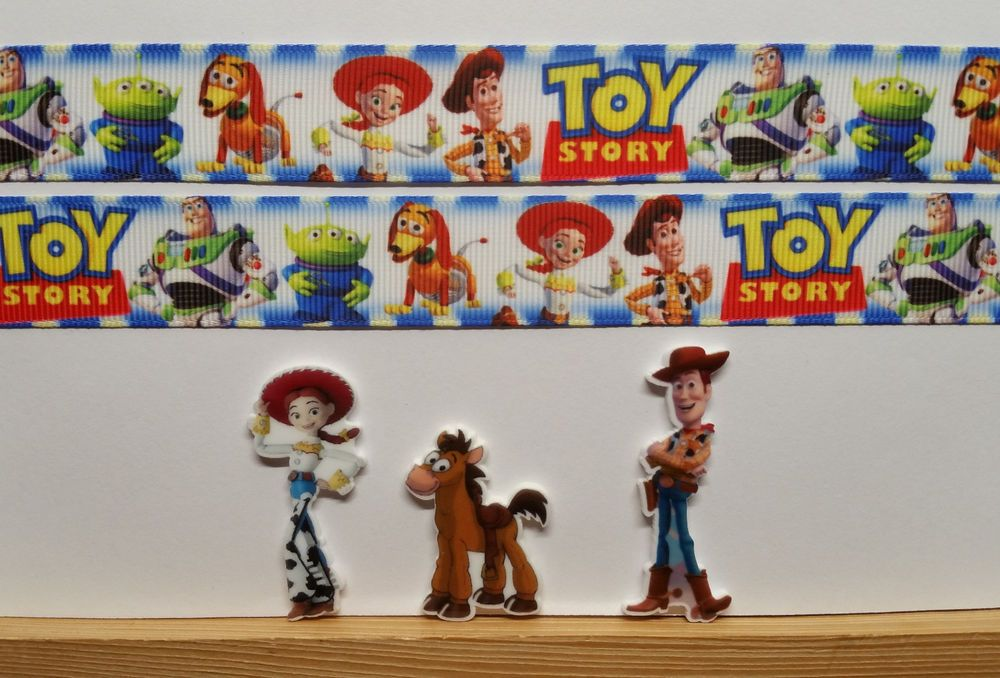 """2 Yds 7/8"""" Toy Story Inspired Grosgrain Ribbon and 3 Resin #Unbranded"""