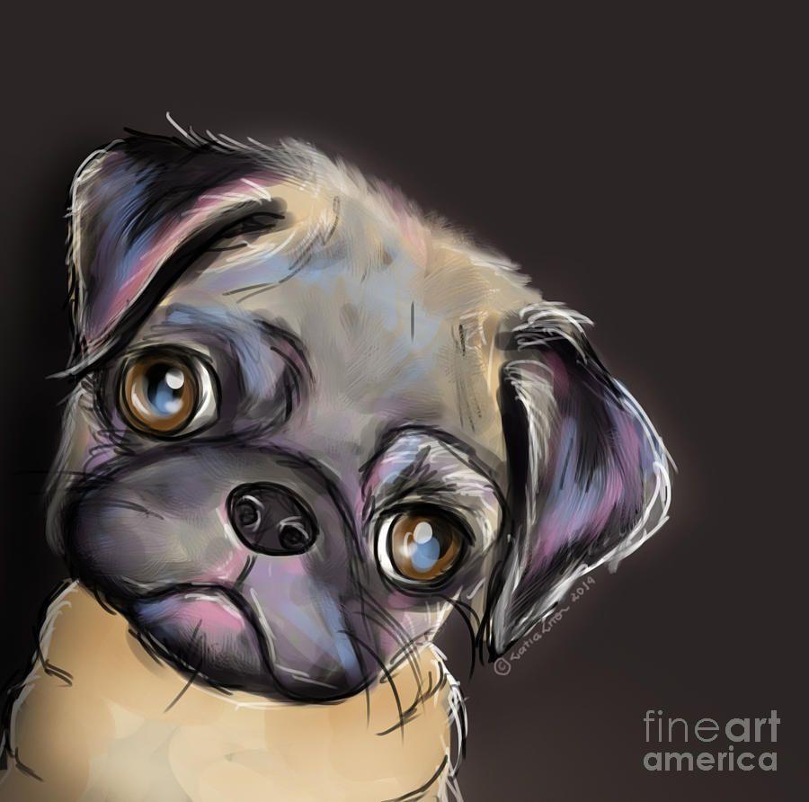 Miss Pug Painting - Miss Pug Fine Art Print | pugs | Pinterest ...