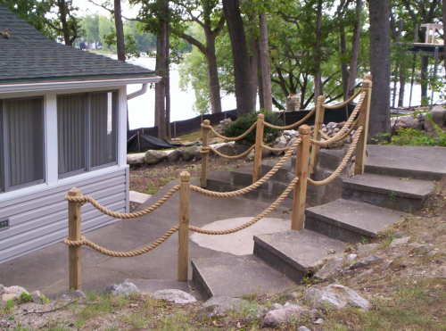 Nautical rope railing idea pool and outdoor landscape for Garden decking handrails