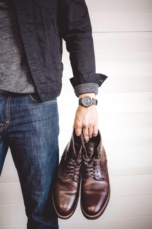 Live Action Getup The Black Denim Jacket Primer Boots Outfit Men Brown Dress Boots Black Jeans Men [ 1500 x 1000 Pixel ]