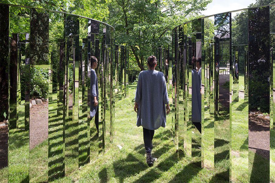 Jeppe Hein, Semicircular Mirror Labyrinth II (2013), installed at Ordrupgaard, Charlottenlund, Denmark. Photo: Anders Sune Berg, courtesy König Galerie, Berlin; 303 Gallery, New York; and Galleri Nicolai Wallner, Copenhagen.