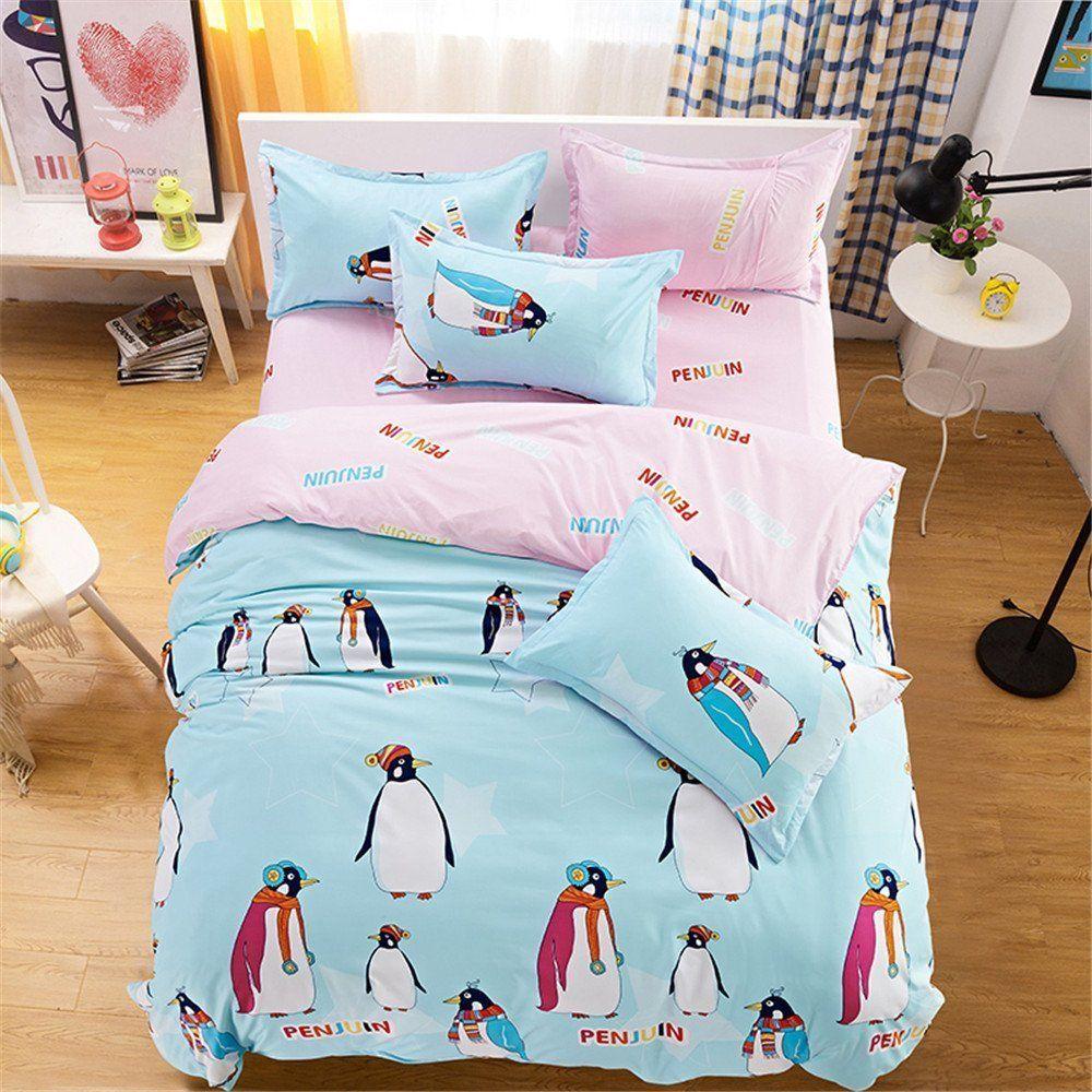 Esydream queen twin size cute penguin design kids home