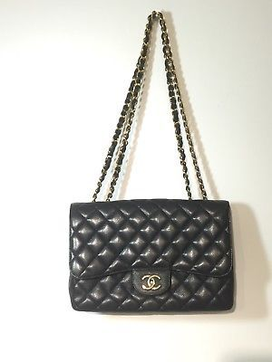 6fc76569eb44 Pre-owned-Chanel-Jumbo-Single-Flap-Bag-in-Quilted-Caviar-Black -Gold-Hardware-GHW