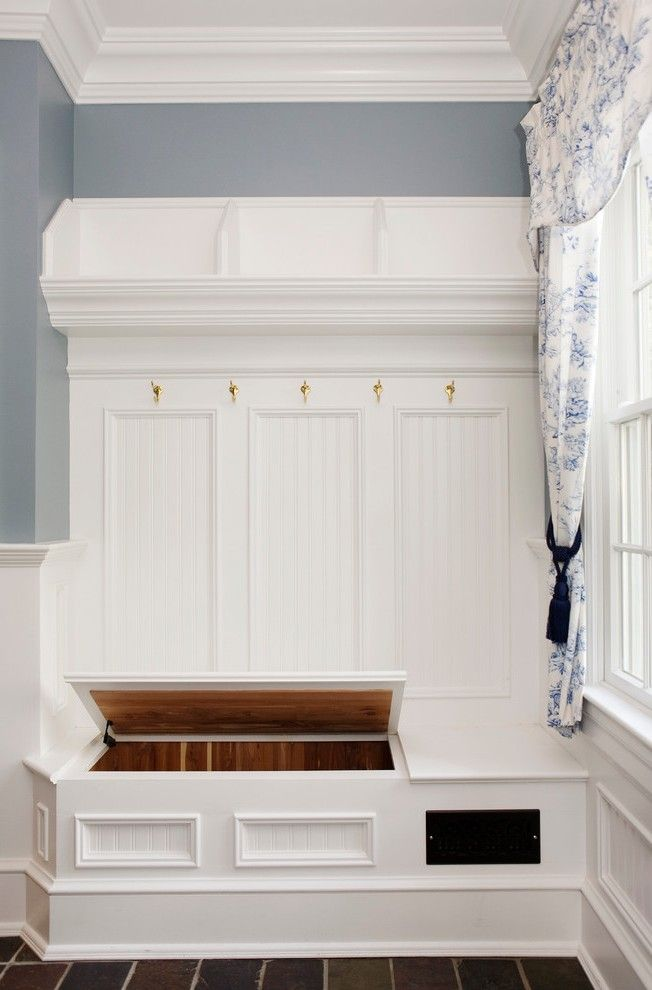 Corner Mudroom Bench With White Shelves Front Door Narrow Front Room Design White Shelves