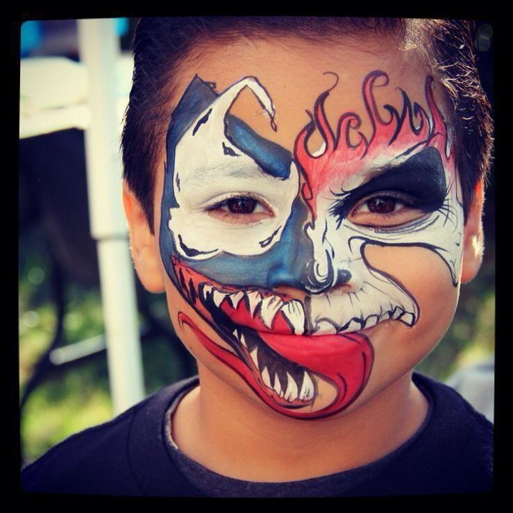 Vanessa Mendoza Half Face Venom Fire Skull Pinturas Faciais Pintura Facial Faciais