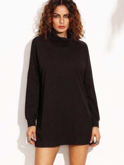 Black Turtleneck Drop Shoulder Dress