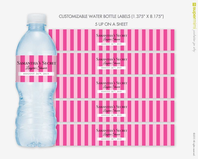 Victorias Secret Themed Pink Stripes Water Bottle Wrapper Labels - water bottle label template