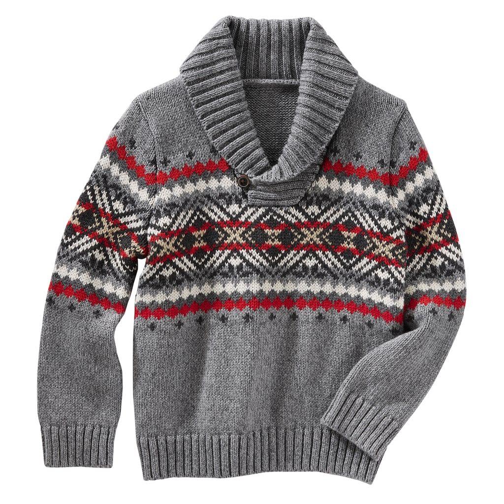 448cf8ba5 Toddler Boy OshKosh B gosh® Fairisle Pullover Shawl Sweater ...
