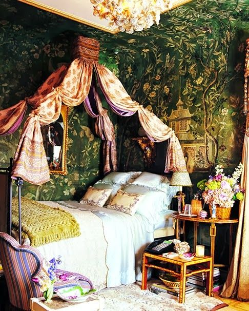 Just A Girl From Brooklyn Home Sweet Home Howard Slatkin Bedroom Green Bohemian Bedroom Custom Murals
