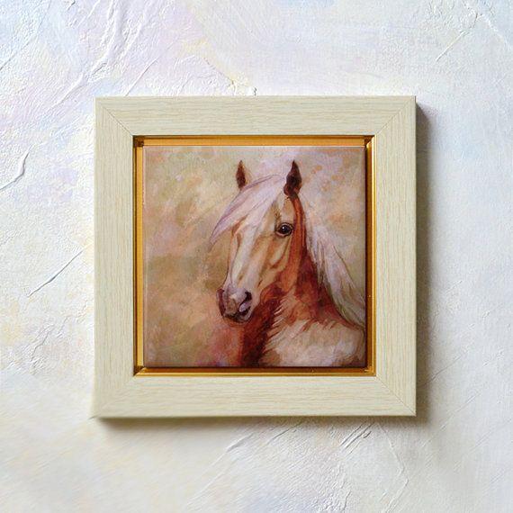 Hand Painted Ceramic Tile Wall Art  Horse  4 x 4  by SobolevaArt, $24.50