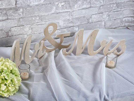 Mr and Mrs sign Wedding letter set by TheCuttingEtchLLC on Etsy