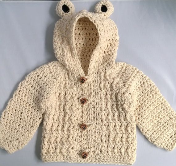 Crochet Baby Boy Sweater, Bear Hood Baby Sweater, Crochet Baby ...